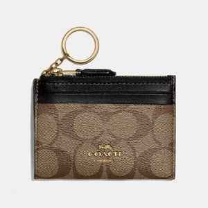 COACH Leather Id Case In Signature Canvas Gold/blk